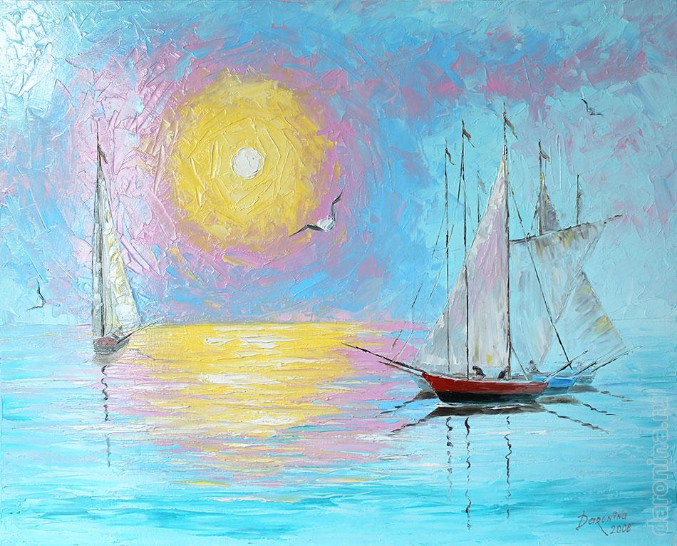 Картина маслом «Ясное утро на море»