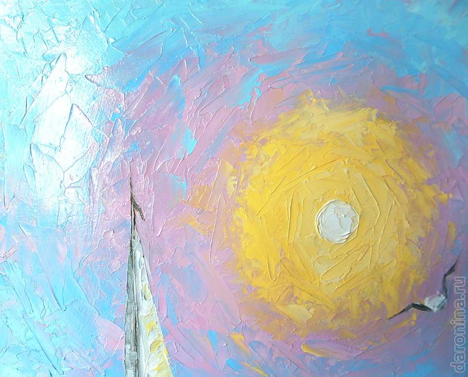 Картина маслом «Ясное утро на море» (фрагмент)
