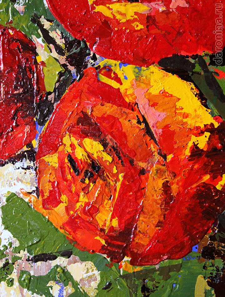 Фрагмент картины «Красные розы»