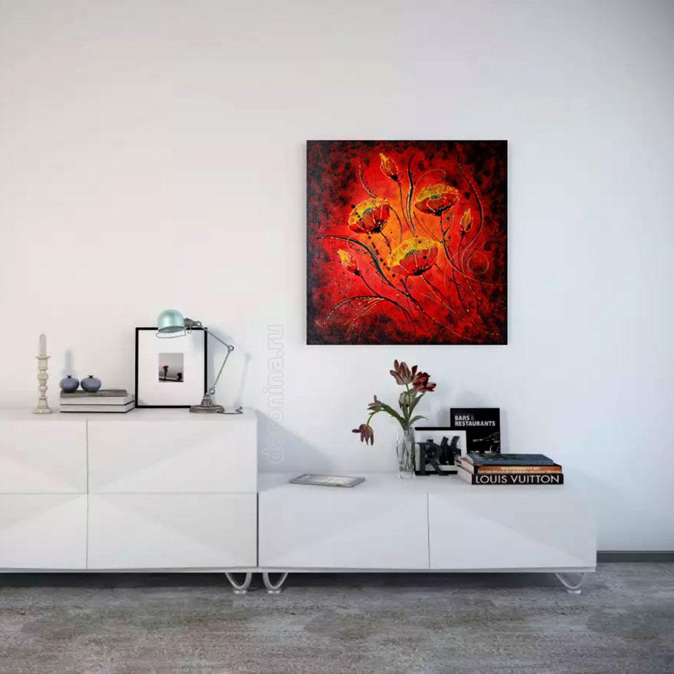 Картина «Красные маки в квадрате»